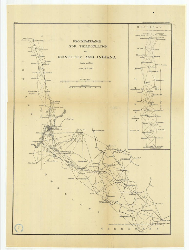 18 x 24 inch 1882 US old nautical map drawing chart of Reconnaissance for Triangulation in Kentucky and Indiana From  US Coast & Geodetic Survey x1810