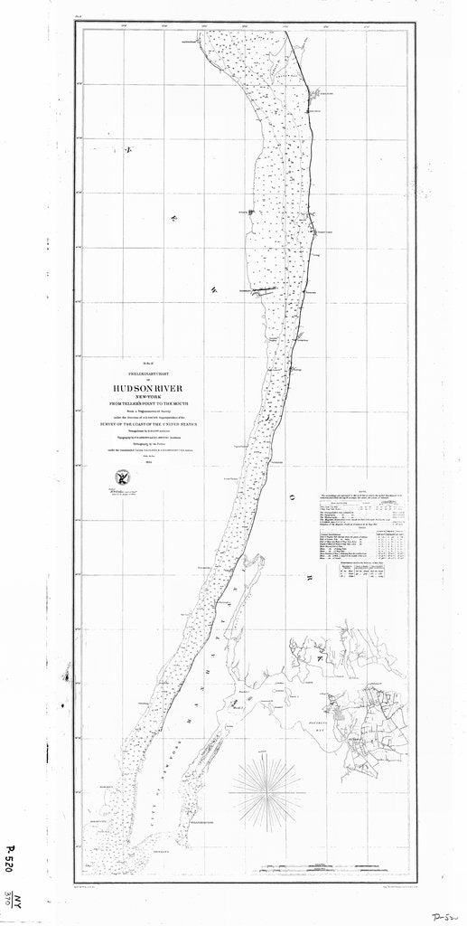 18 x 24 inch 1855 New York old nautical map drawing chart of HUDSON RIVER From  U.S. Coast Survey x7009
