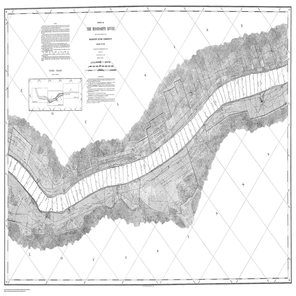 18 x 24 inch 1872 US old nautical map drawing chart of Survey of the Mississippi River From  Mississippi River Commission x2307
