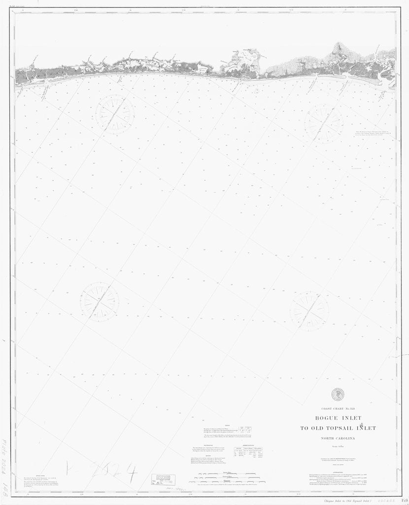 18 x 24 inch 1889 North Carolina old nautical map drawing chart of BOGUE INLET TO OLD TOPSAIL INLET From  C&GS x7118