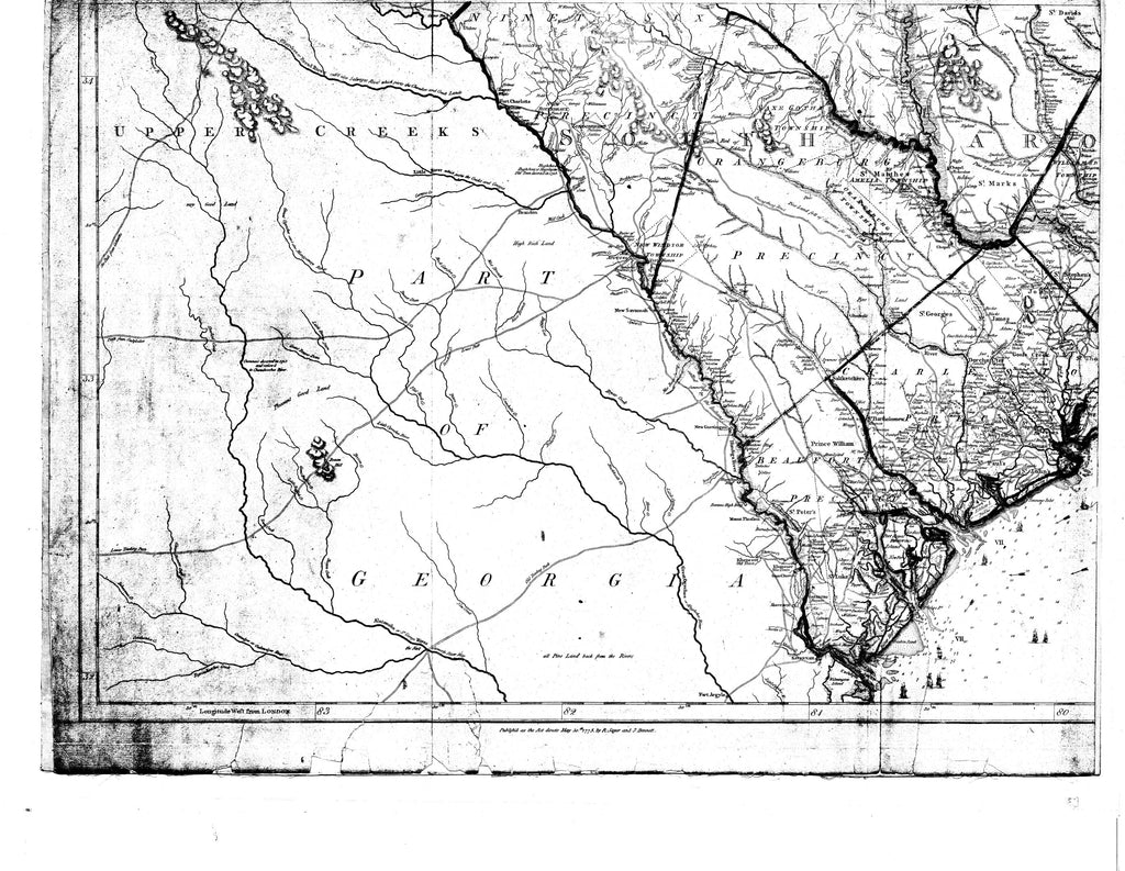 18 x 24 inch 1775 Georgia old nautical map drawing chart of [Rivers of SC and GA] From  NOAA x12204