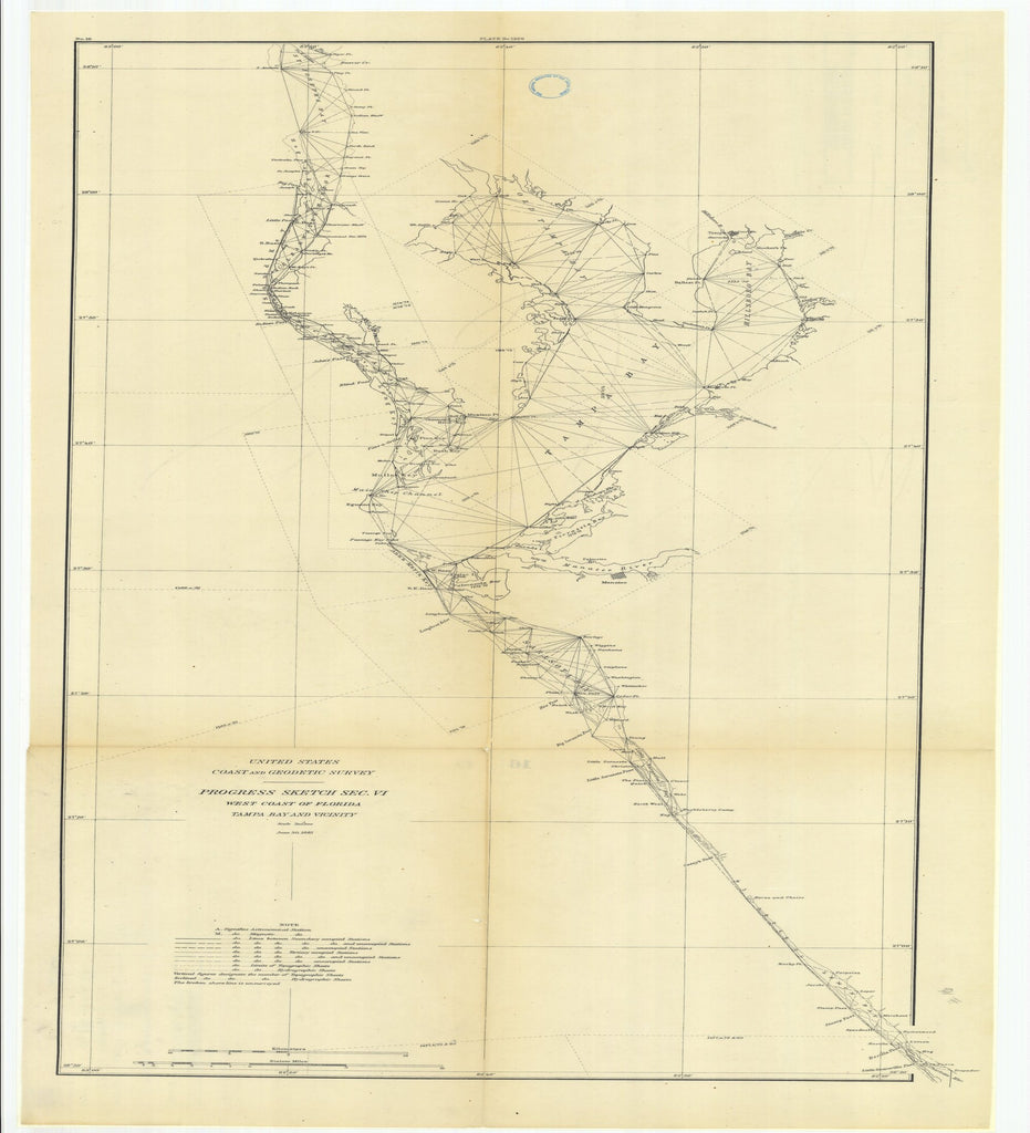 18 x 24 inch 1881 US old nautical map drawing chart of Progress Sketch, Section 6, West Coast of Florida, Tampa Bay and Vicinity From  US Coast & Geodetic Survey x2548