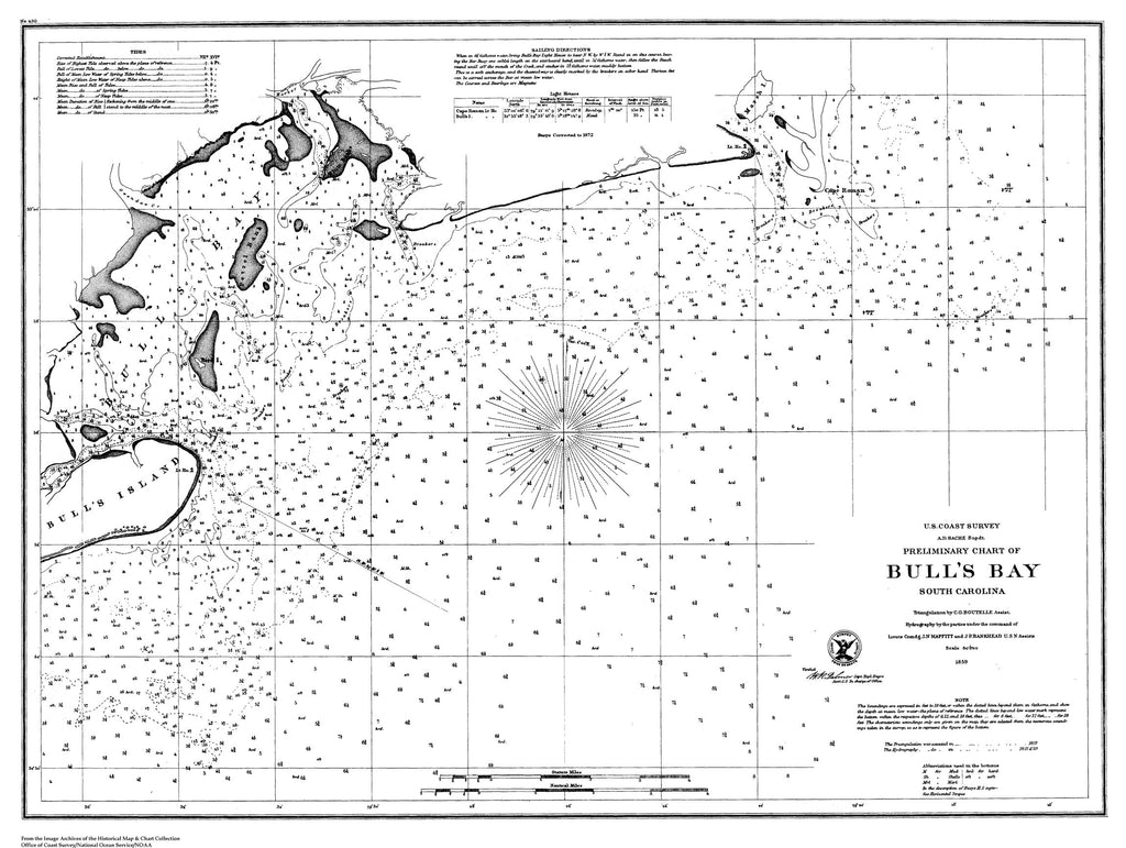 18 x 24 inch 1859 South Carolina old nautical map drawing chart of Nautical Chart of Bull's Bay From  U.S. Coast Survey x8219