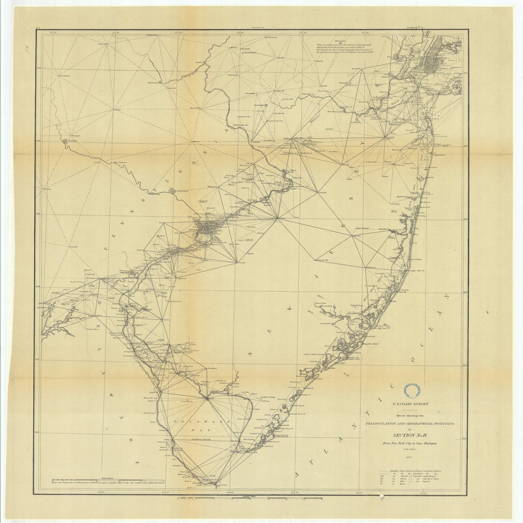 18 x 24 inch 1875 US old nautical map drawing chart of Triangulation between the Maryland and Georgia Baseline (Southern part) with extension Westward and Triangulation in Tennesse From  U.S. Coast Survey x1927
