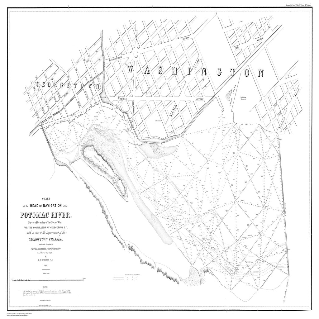 18 x 24 inch 1857 US old nautical map drawing chart of Map for Navigational Purposes in the Area Near DC From  Corps of Engineers x1609