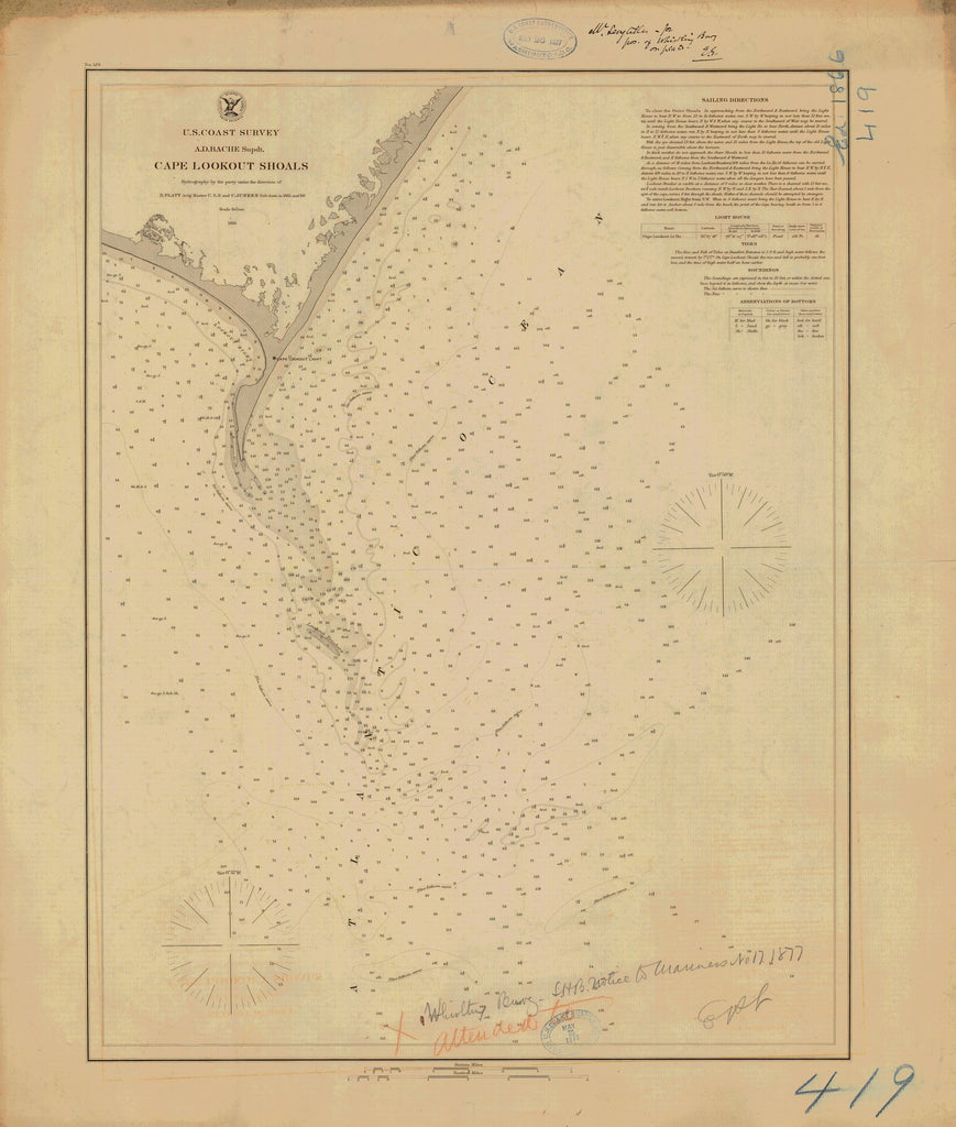 18 x 24 inch 1866 North Carolina old nautical map drawing chart of Cape Lookout Shoals From  U.S. Coast Survey x6553