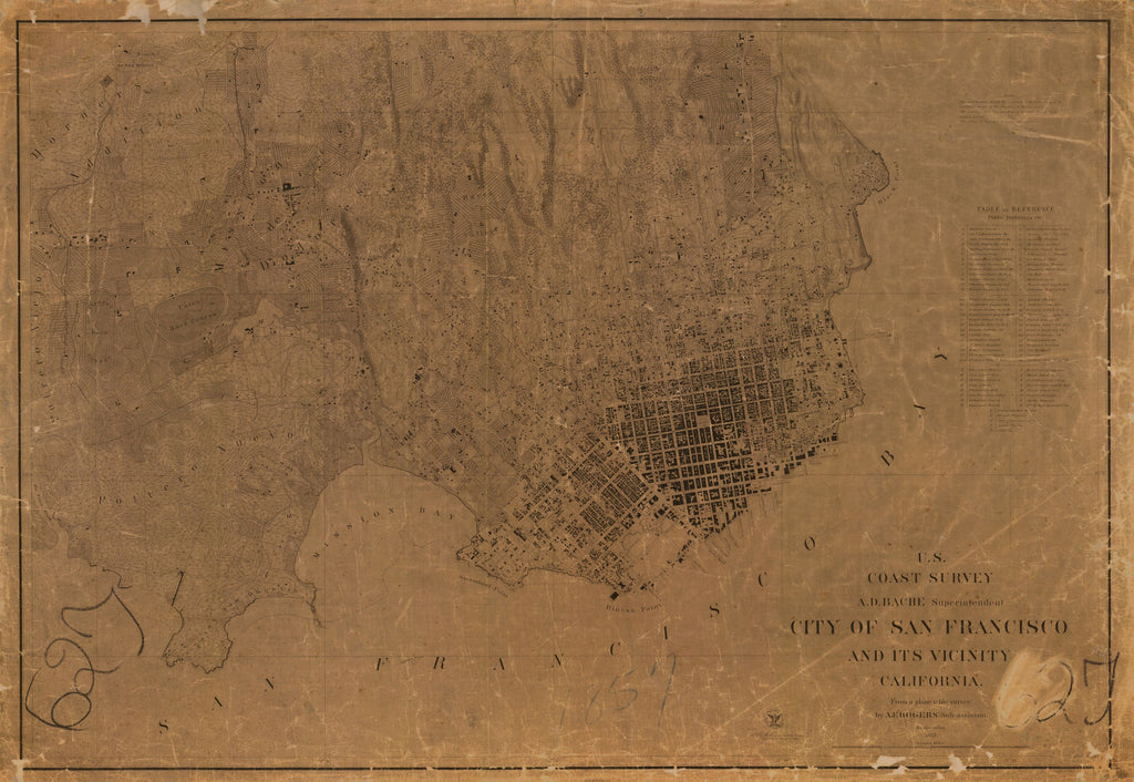 18 x 24 inch 1857 US old nautical map drawing chart of CITY OF SAN FRANCISCO AND ITS VICINITY From  U.S. Coast Survey x1676