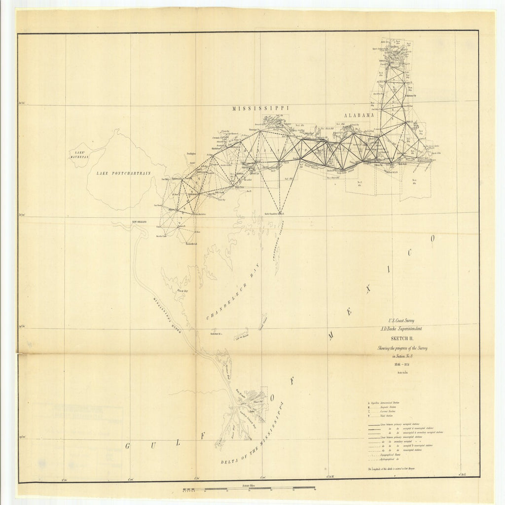 18 x 24 inch 1851 Mississippi old nautical map drawing chart of Sketch H Showing the Progress of the Survey in Section Number 8, 1846 to 1851 From  U.S. Coast Survey x6375