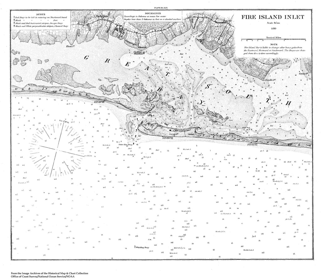 18 x 24 inch 1880 New York old nautical map drawing chart of Navigation Chart for Fire Island Inlet, NY From  U.S. Coast Survey x7082