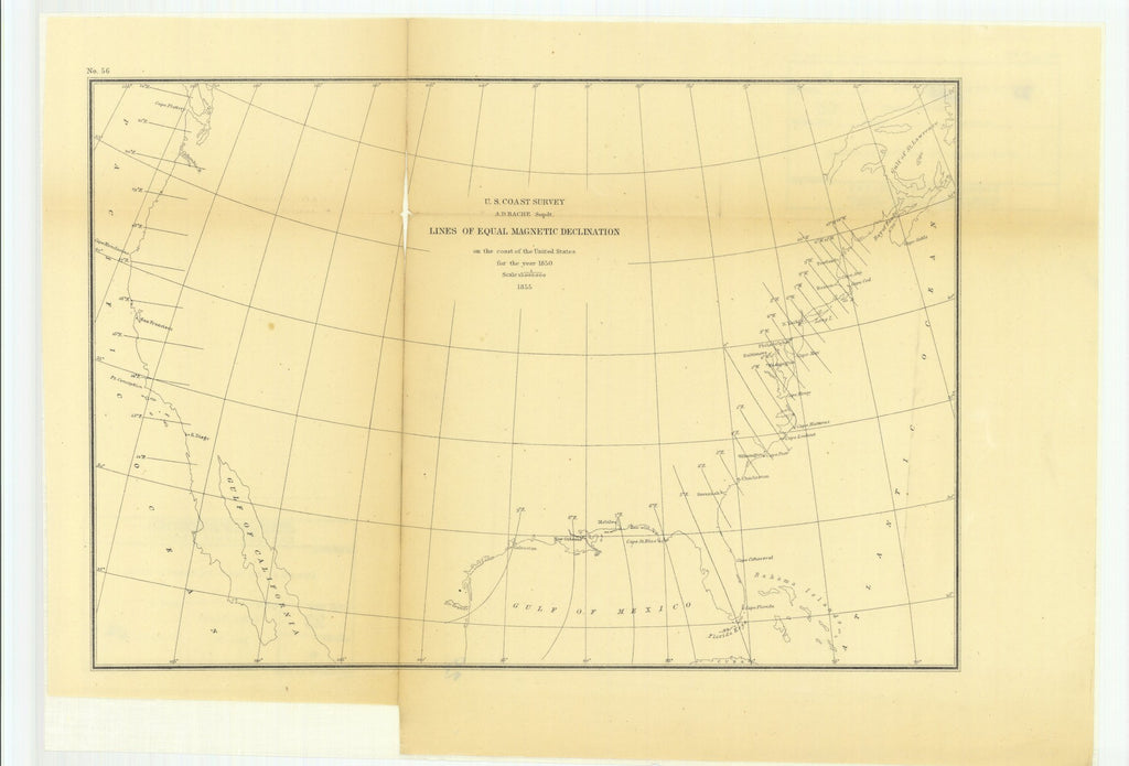 18 x 24 inch 1855 US old nautical map drawing chart of Lines of Equal Magnetic Declination on the Coast of the United States for the year 1850. From  U.S. Coast Survey x4782