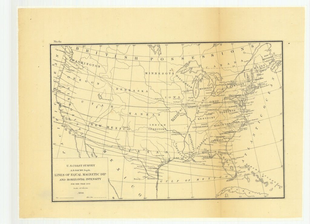 18 x 24 inch 1856 US old nautical map drawing chart of Lines of Equal Magnetic Dip and Horizontal Intensity for the Year 1850 From   U.S. Coast Survey x927