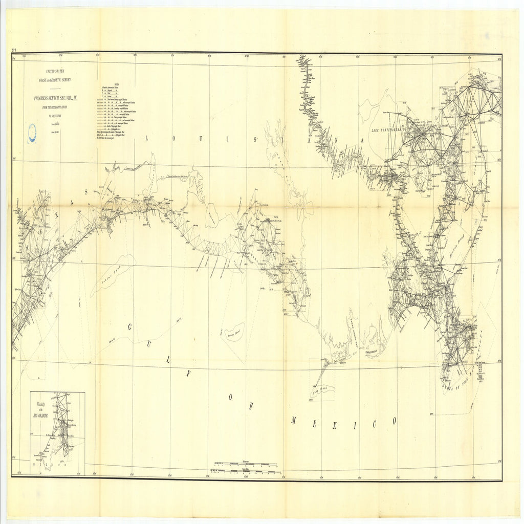 18 x 24 inch 1885 Texas old nautical map drawing chart of Parts of Sections VIII and IX. Coast of Mississippi, Louisiana, and Texas. Sub- From  US Coast & Geodetic Survey x11739