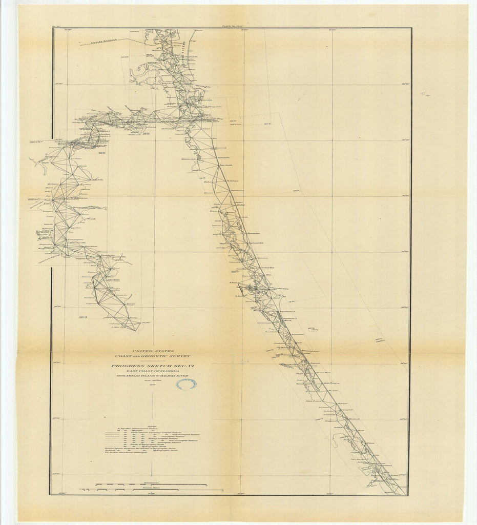 18 x 24 inch 1879 US old nautical map drawing chart of Progress Sketch, Section 6, East Coast of Florida from Amelia Island to Halifax River From  US Coast & Geodetic Survey x2543