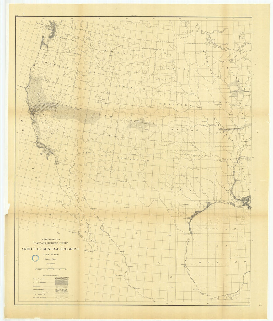 18 x 24 inch 1879 North Dakota old nautical map drawing chart of Sketch of General Progress, June 30, 1879, Western Sheet From  US Coast & Geodetic Survey x6596