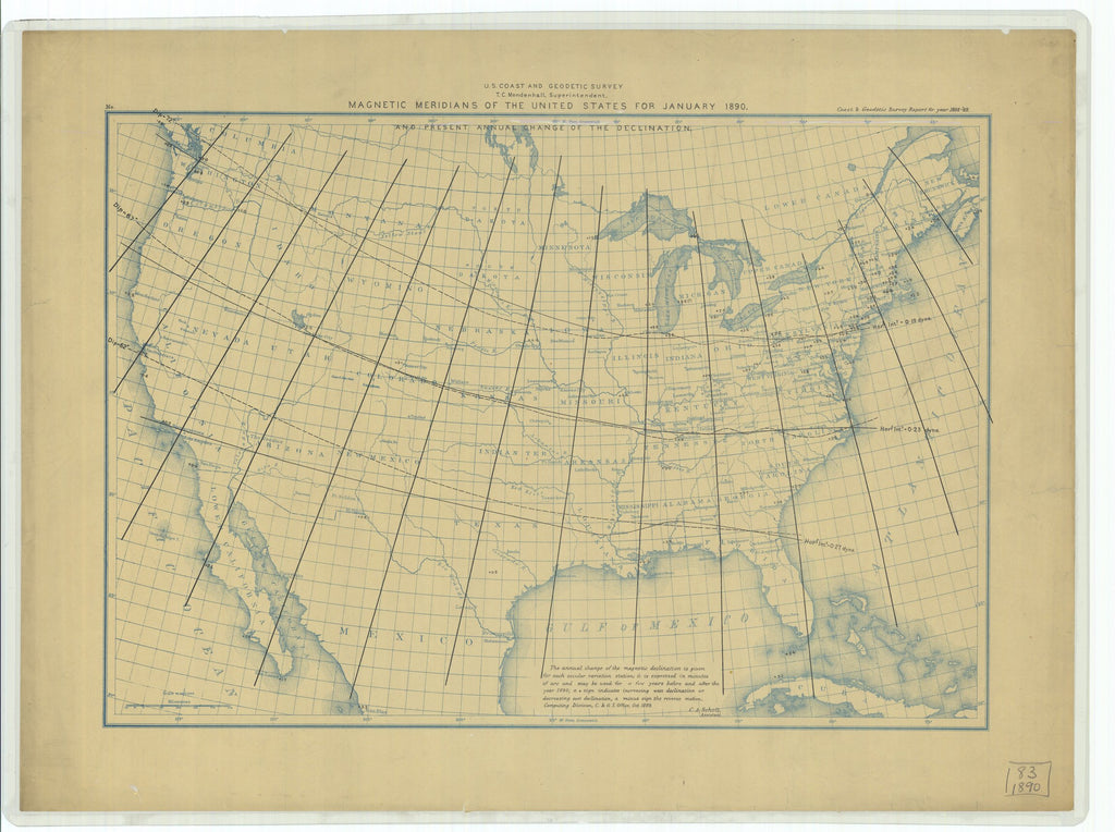 18 x 24 inch 1889 US old nautical map drawing chart of Magnetic Meridians and Present Annual Change of the Declination of the United States for January 1890 From   US Coast & Geodetic Survey x2199