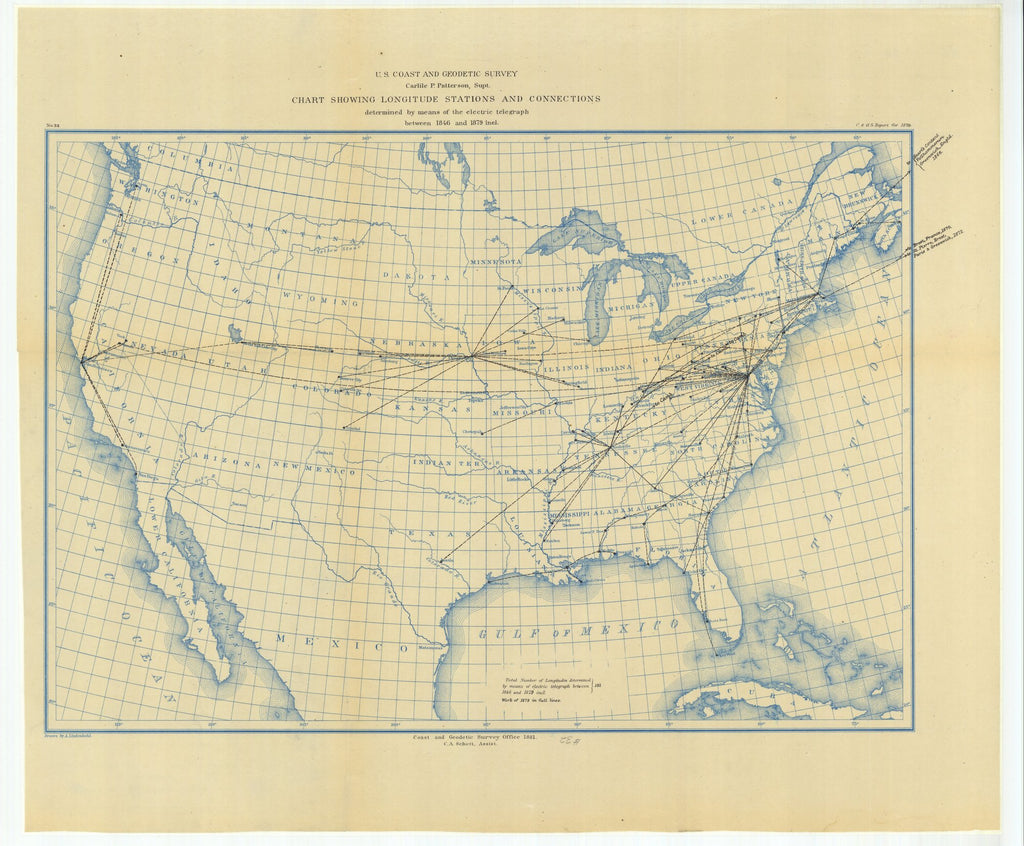 18 x 24 inch 1879 US old nautical map drawing chart of Chart Showing Longitude Stations and Connections Determined by Means of the Electric Telegraph Between 1846 and 1879 From  US Coast & Geodetic Survey x1464
