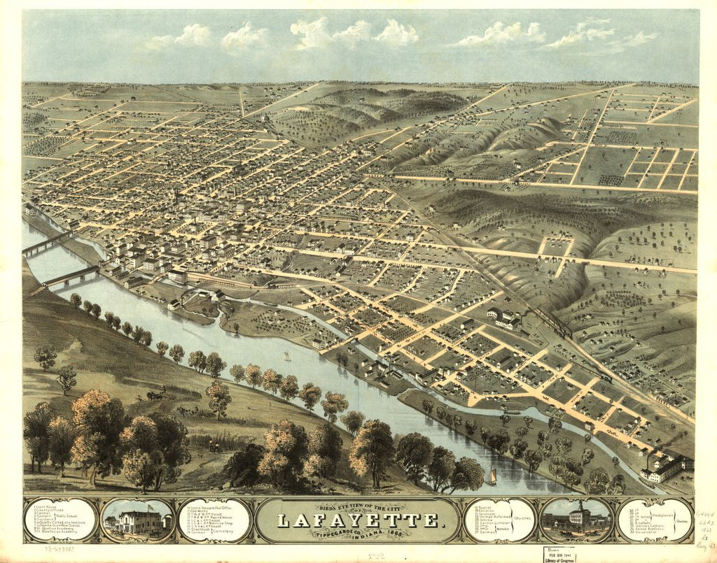 8 x 12 Reproduced Photo of Vintage Old Perspective Birds Eye View Map or Drawing of: Lafayette, Tippecanoe Co., Indiana 1868. Ruger, A. 1868