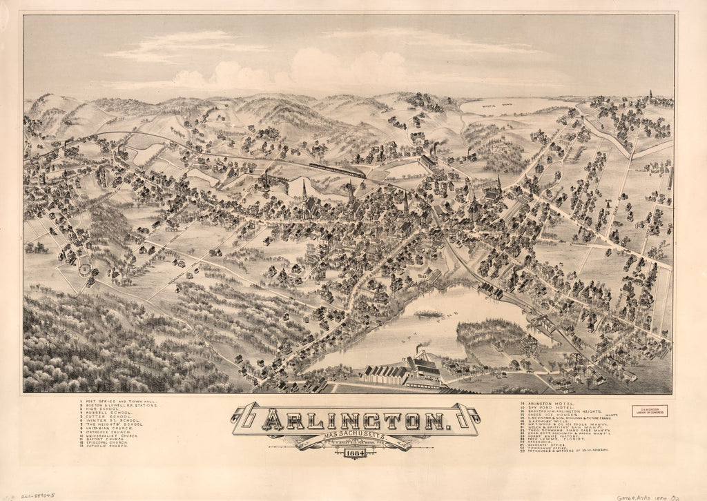 8 x 12 Reproduced Photo of Vintage Old Perspective Birds Eye View Map or Drawing of: Arlington, Massachusetts, 1884.  O.H. Bailey & Co.  1884
