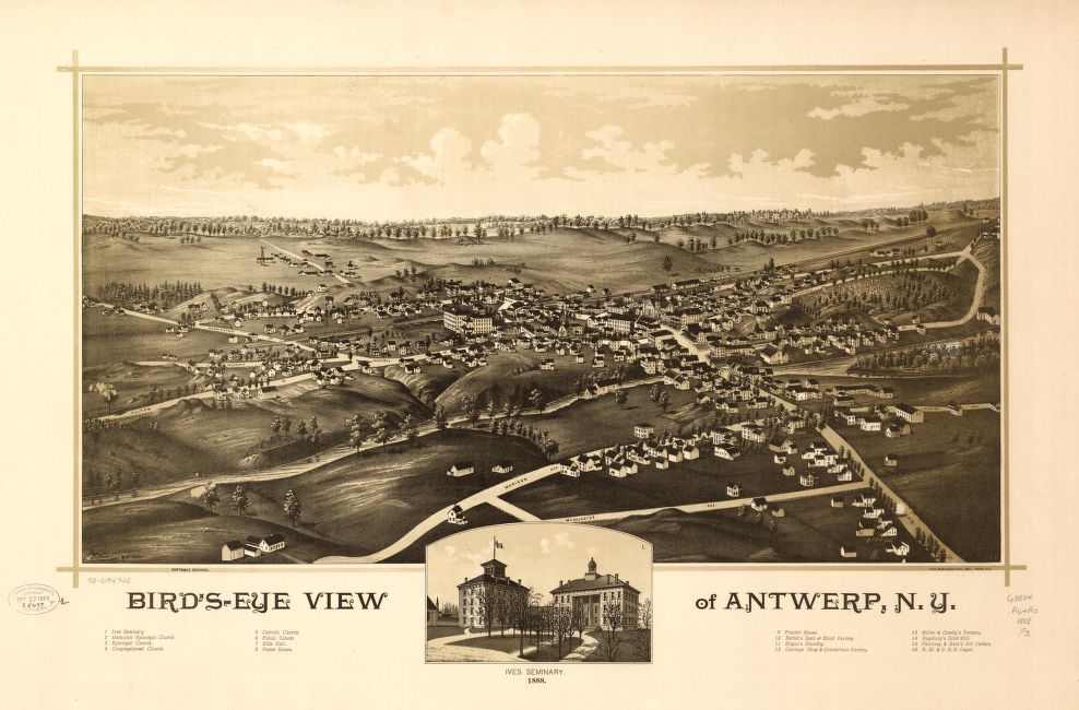 8 x 12 Reproduced Photo of Vintage Old Perspective Birds Eye View Map or Drawing of: Bird's-eye Antwerp, N.Y.  Fausel, C. (Christian) - Burleigh Litho - Fausel, C.  1888