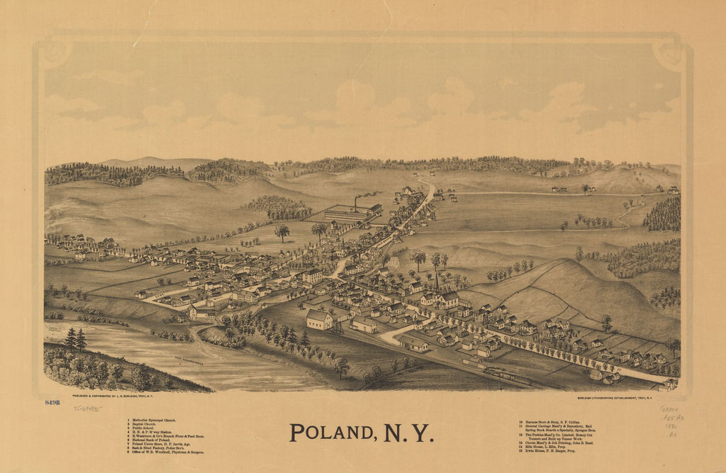 8 x 12 Reproduced Photo of Vintage Old Perspective Birds Eye View Map or Drawing of: Poland, N.Y. Burleigh, L. R. (Lucien R.) - Burleigh Litho - Burleigh, L. R. 1890