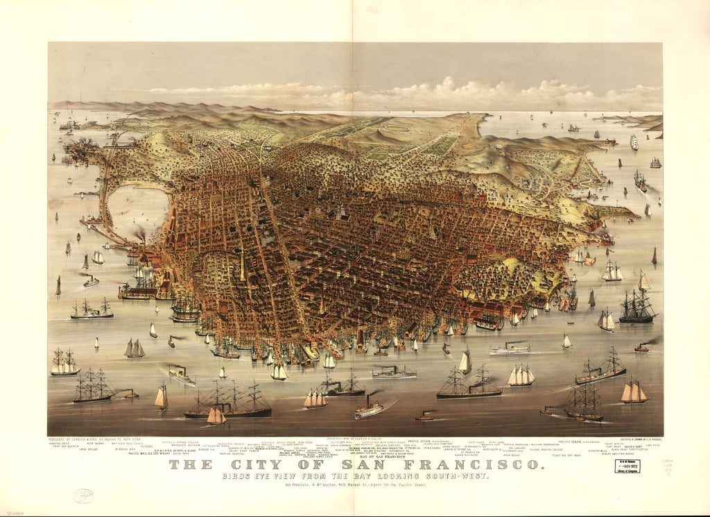 8 x 12 Reproduced Photo of Vintage Old Perspective Birds Eye View Map or Drawing of: San Francisco. view from the bay looking south-west. Parsons, Charles R. (Charles Richard), 1844-1918? c1878