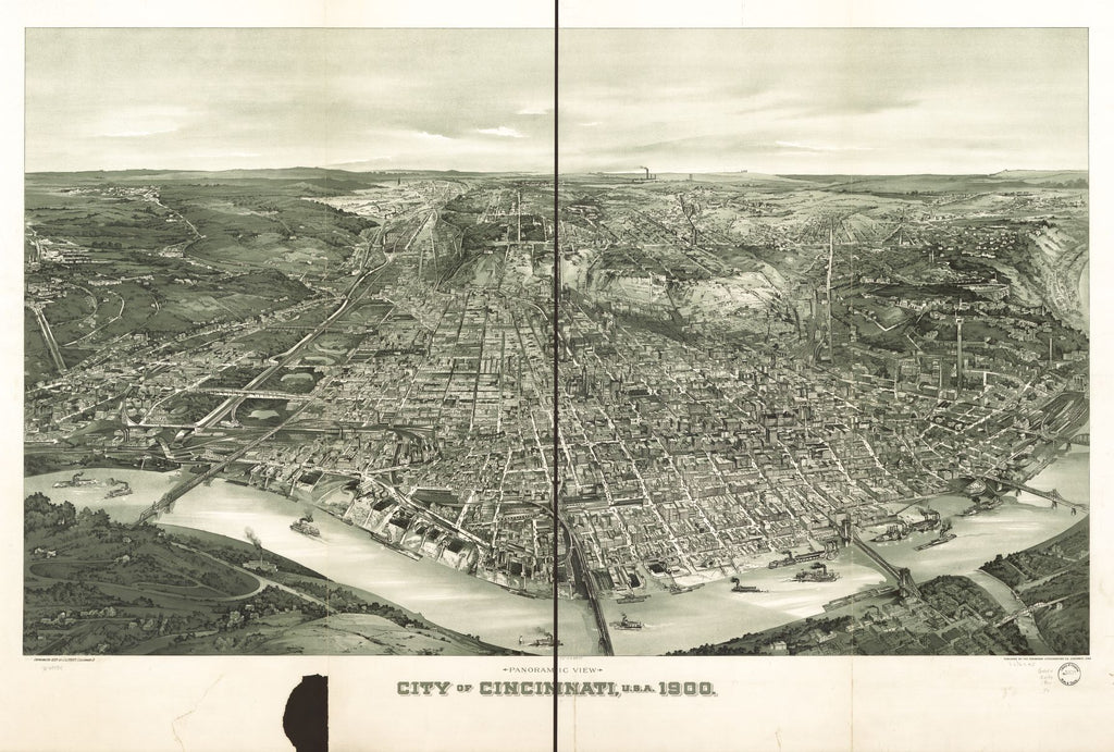 8 x 12 Reproduced Photo of Vintage Old Perspective Birds Eye View Map or Drawing of: Panoramic view, Cincinnati, U.S.A. 1900. Trout, John L. c1899