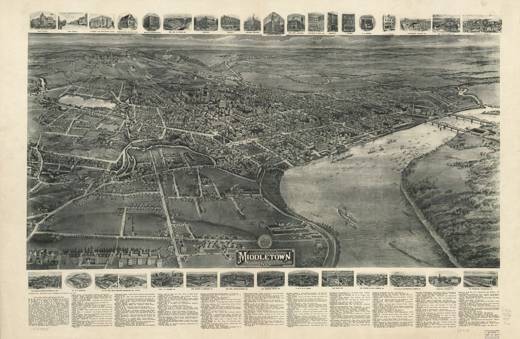 8 x 12 Reproduced Photo of Vintage Old Perspective Birds Eye View Map or Drawing of: Middletown, Connecticut, 1915   Fowler, T. M. - Hughes & Bailey - Fowler, T. M.  1915