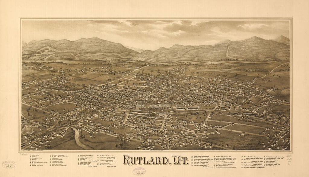8 x 12 Reproduced Photo of Vintage Old Perspective Birds Eye View Map or Drawing of: Rutland, Vt.  Burleigh, L. R. (Lucien R.) - C.H. Vogt & Son - Burleigh, L. R.  1885