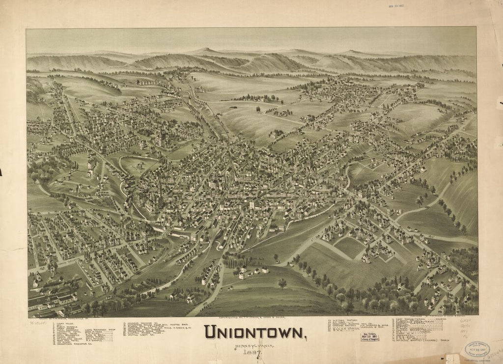 8 x 12 Reproduced Photo of Vintage Old Perspective Birds Eye View Map or Drawing of: Uniontown, Pennsylvania, 1897.   Fowler, T. M. - Moyer, James - Fowler, T. M.  1897