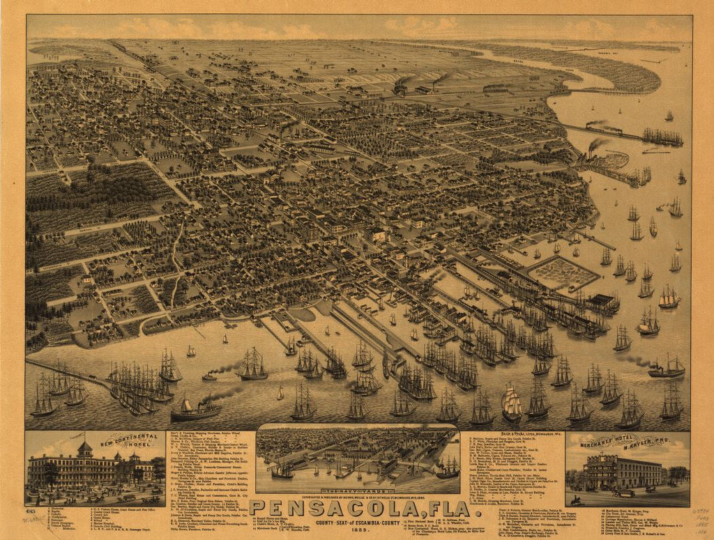 8 x 12 Reproduced Photo of Vintage Old Perspective Birds Eye View Map or Drawing of: Pensacola, Fla. county seat of Escambia County 1885. Wellge, H. (Henry)Beck & Pauli.Norris, Wellge & Co. c1885.