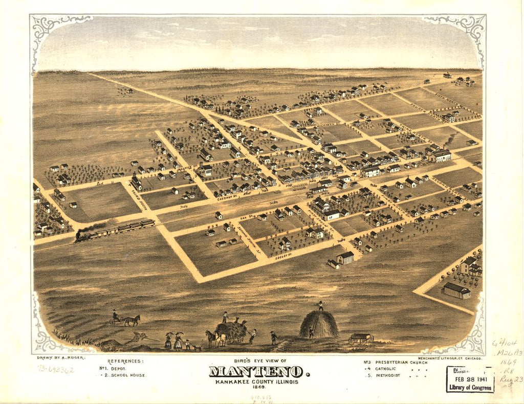 8 x 12 Reproduced Photo of Vintage Old Perspective Birds Eye View Map or Drawing of: Manteno, Kankakee County, Illinois 1869. Ruger, A. 1869