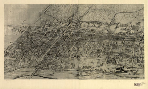 8 x 12 Reproduced Photo of Vintage Old Perspective Birds Eye View Map or Drawing of: [Arlington, N.J. none 1907
