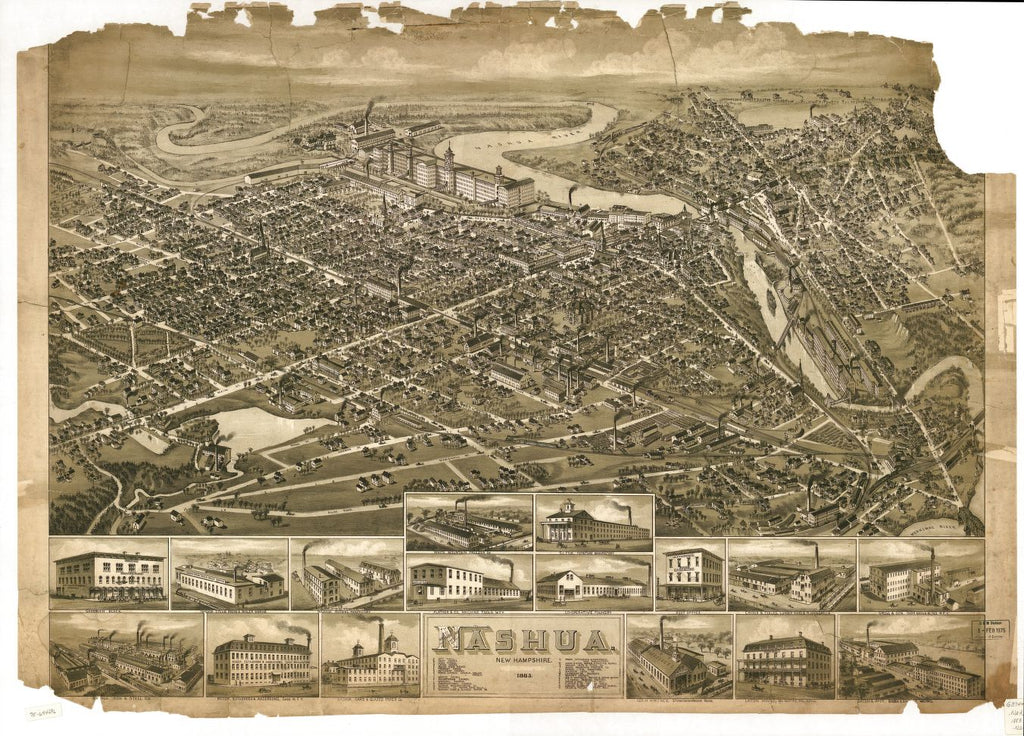 8 x 12 Reproduced Photo of Vintage Old Perspective Birds Eye View Map or Drawing of: Nashua, New Hampshire 1883.  None 1883