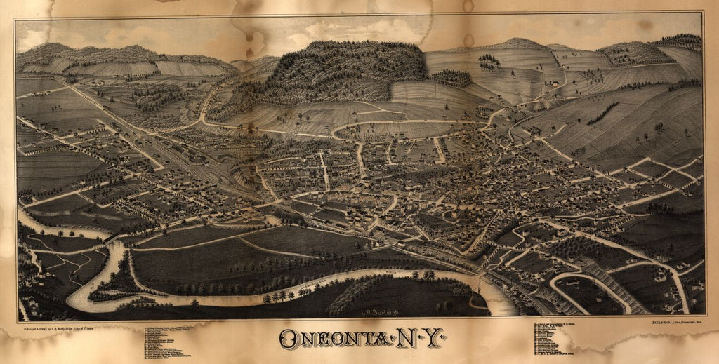 8 x 12 Reproduced Photo of Vintage Old Perspective Birds Eye View Map or Drawing of: Oneonta, N.Y. Burleigh, L. R. (Lucien R.) - Beck & Pauli - Burleigh, L. R. 1884