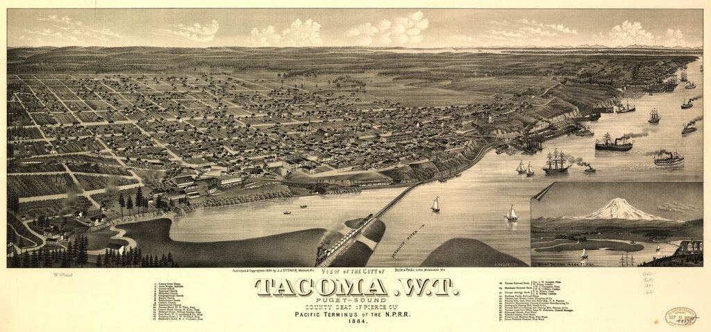 8 x 12 Reproduced Photo of Vintage Old Perspective Birds Eye View Map or Drawing of: Tacoma, W.T., Puget-Sound, county seat of Pierce Cty. 1884. Wellge, H. (Henry) 1884