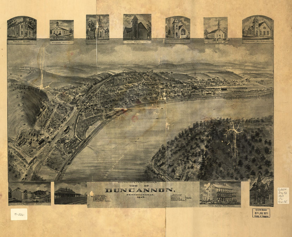 8 x 12 Reproduced Photo of Vintage Old Perspective Birds Eye View Map or Drawing of: Duncannon, Pennsylvania 1903 Fowler, T. M. (Thaddeus Mortimer), 1842-1922. 1903]