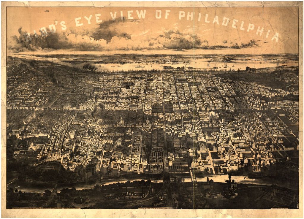 8 x 12 Reproduced Photo of Vintage Old Perspective Birds Eye View Map or Drawing of: Philadelphia / J. Bachman, del. & lith. Bachmann, John, lithographerP.S. Duval & Son, printer 1868