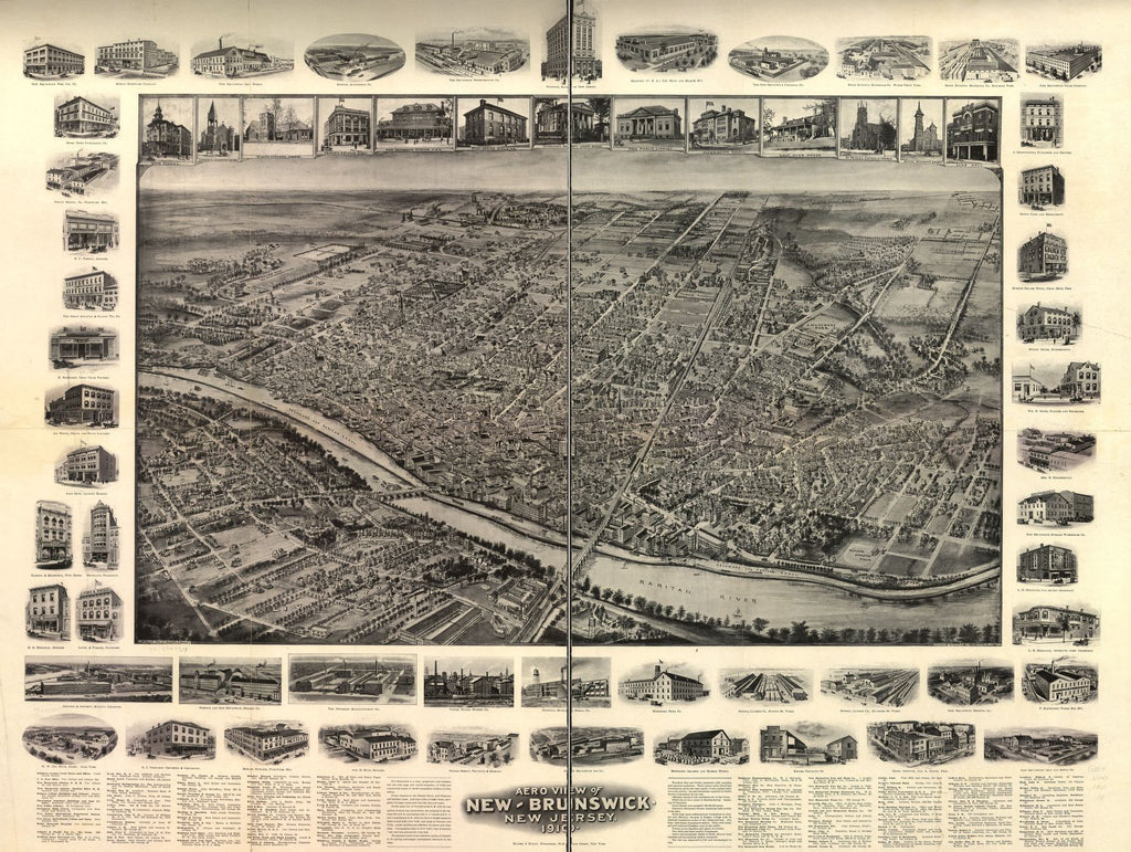 8 x 12 Reproduced Photo of Vintage Old Perspective Birds Eye View Map or Drawing of: New-Brunswick, New Jersey, 1910. Hughes & Bailey 1910
