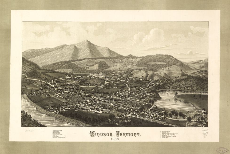 8 x 12 Reproduced Photo of Vintage Old Perspective Birds Eye View Map or Drawing of: Windsor, Vermont 1886.  Burleigh, L. R. (Lucien R.) - Burleigh Litho - Burleigh, L. R.  1886
