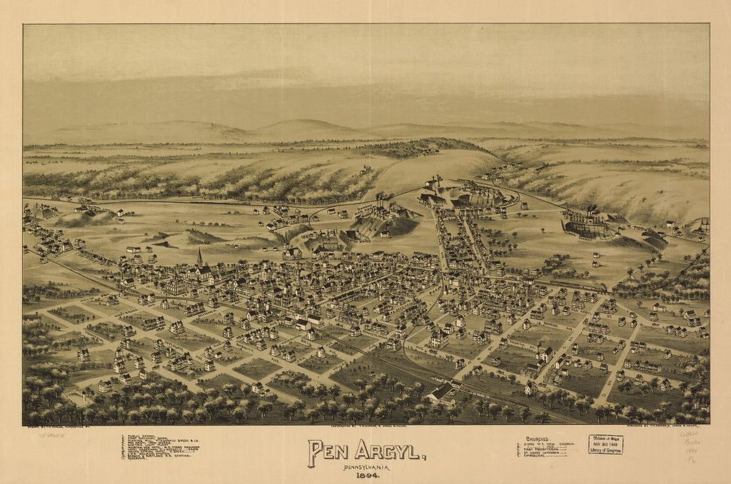 8 x 12 Reproduced Photo of Vintage Old Perspective Birds Eye View Map or Drawing of: Pen Argyl, Pennsylvania 1894. Fowler, T. M. - Moyer, James - Fowler, T. M. 1894