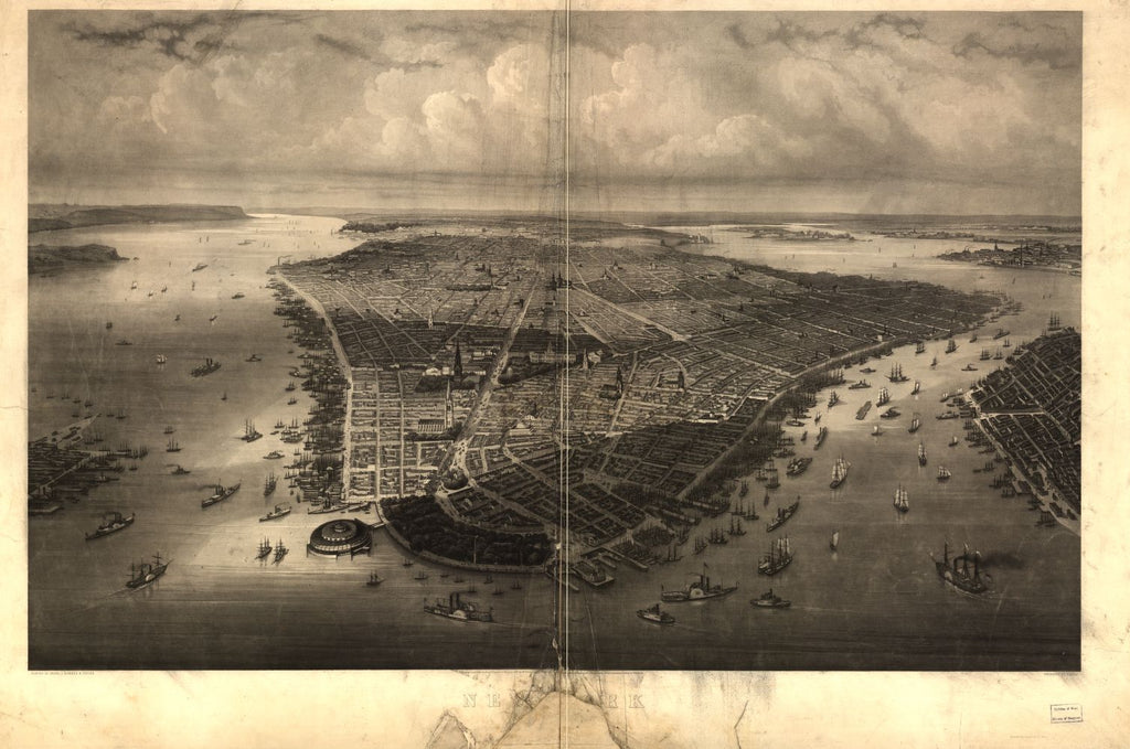 8 x 12 Reproduced Photo of Vintage Old Perspective Birds Eye View Map or Drawing of: New York / painted by Heine, J. Kummer & D_pler ; engraved by Himely Heine, Wilhelm 1851
