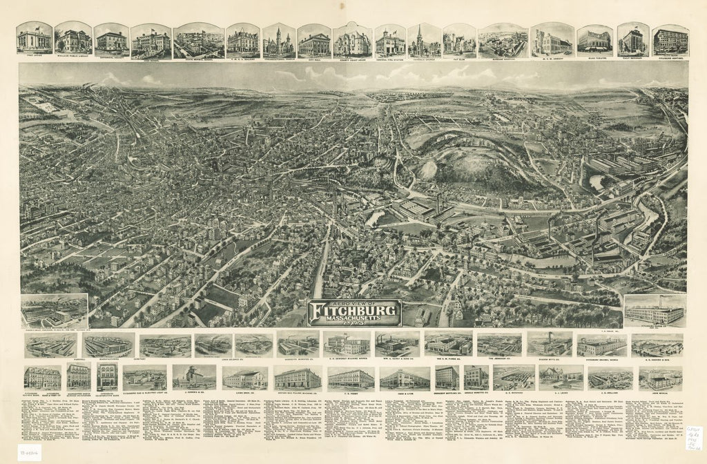 8 x 12 Reproduced Photo of Vintage Old Perspective Birds Eye View Map or Drawing of: Fitchburg, Massachusetts 1915.  Fowler, T. M. - Hughes & Bailey - Fowler, T. M.  1915