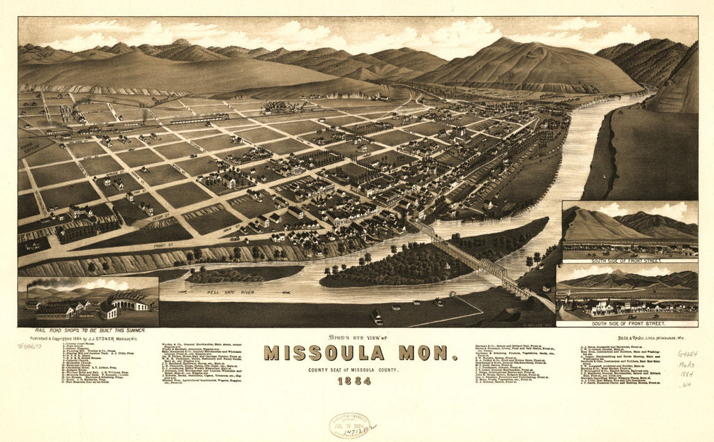 8 x 12 Reproduced Photo of Vintage Old Perspective Birds Eye View Map or Drawing of: Missoula, Mon. county seat of Missoula County 1884. Wellge, H. (Henry) c1884