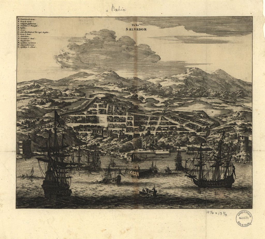 8 x 12 Reproduced Photo of Vintage Old Perspective Birds Eye View Map or Drawing of: Urbs Salvador Montanus, Arnoldus 1671
