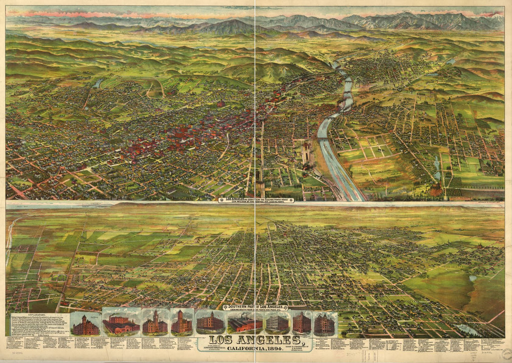 8 x 12 Reproduced Photo of Vintage Old Perspective Birds Eye View Map or Drawing of: Los Angeles, California, 1894. Pierce, B. W. (Bruce Wellington), 1859-1947. 1894
