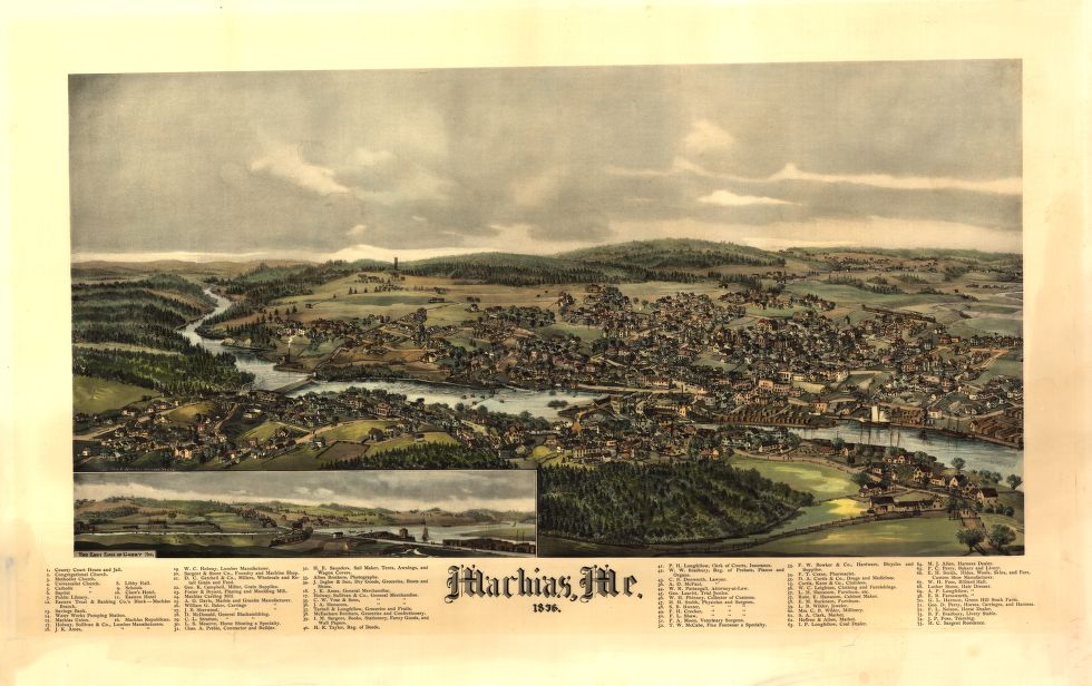 8 x 12 Reproduced Photo of Vintage Old Perspective Birds Eye View Map or Drawing of: Machias, Me., 1896  Norris, George E.  1896