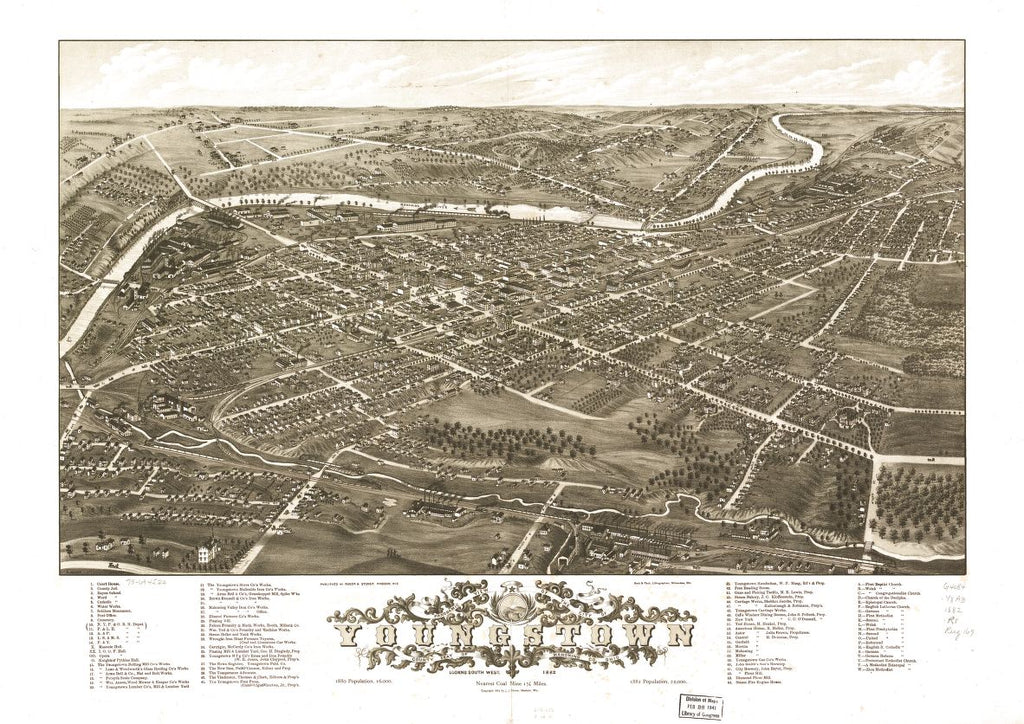 8 x 12 Reproduced Photo of Vintage Old Perspective Birds Eye View Map or Drawing of: Panoramic Youngstown, county seat of Mahoning Co., Ohio 1882. Ruger, A.Stoner, J. J.Beck & Pauli.Ruger & Stoner. 1882