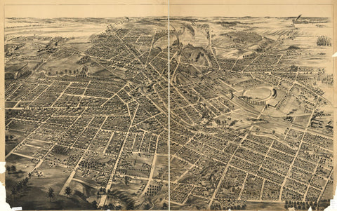 8 x 12 Reproduced Photo of Vintage Old Perspective Birds Eye View Map or Drawing of: [ Battle Creek, Mich. NONE 188-?