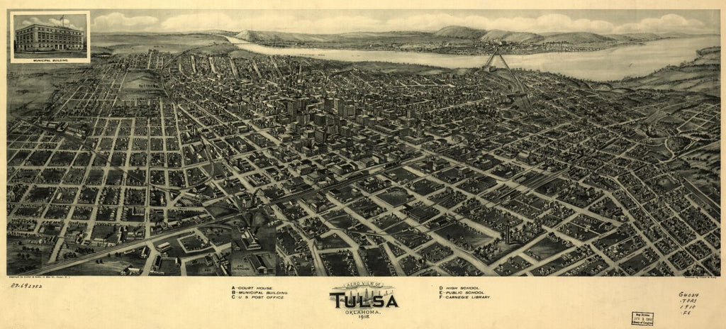 8 x 12 Reproduced Photo of Vintage Old Perspective Birds Eye View Map or Drawing of: Tulsa, Oklahoma, 1918. Fowler & Kelly. 1918