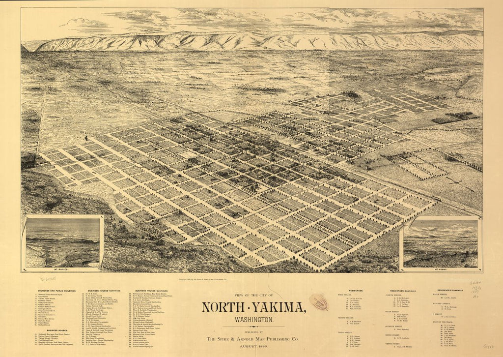 8 x 12 Reproduced Photo of Vintage Old Perspective Birds Eye View Map or Drawing of: North Yakima, Washington. Arnold, Syd W. 1889